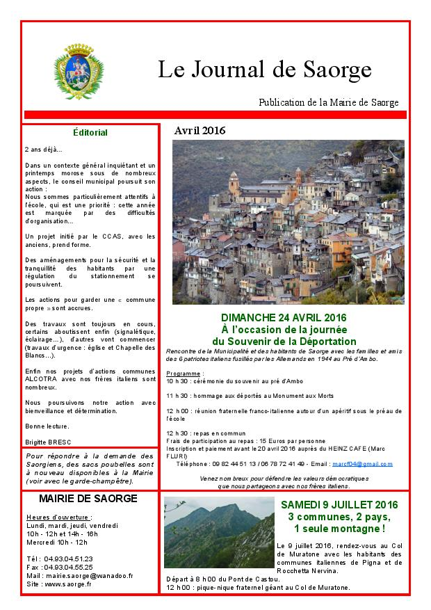 Journal de Saorge avril 2016